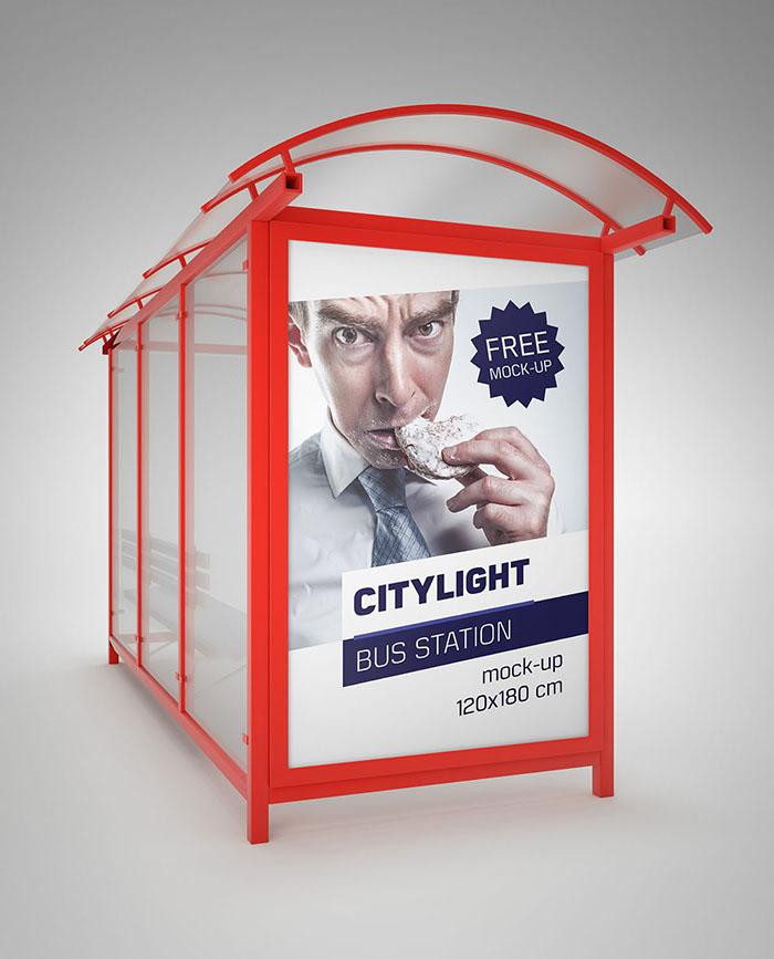 سه موکاپ لایهباز تبلیغات در ایستگاه اتوبوس