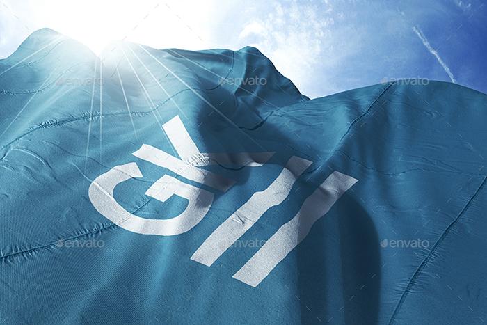 موکاپ پارچه و پرچم موجدار در باد