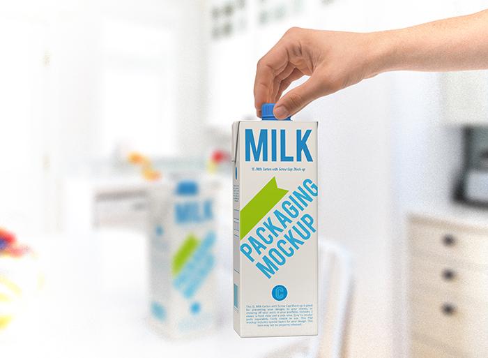 موکاپ واقعگرایانه بستهبندی شیر، آبمیوه و...