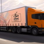 موکاپ تبلیغات بر روی بدنه کامیون (3 نمونه)