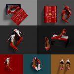 موکاپ طرح روی کفش پاشنهبلند زنانه (7 موکاپ)