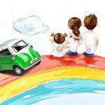 فایل لایه باز پوستر کودکانه و بچگانه (سه بچه روی رنگین کمان)