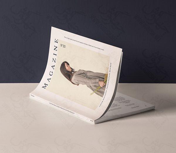 دانلود موکاپ طرح جلد مجله و کتاب به صورت خوابیده با صفحات نیمهباز