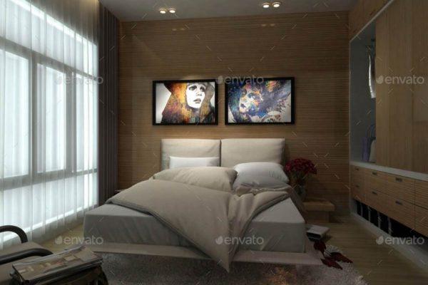 موکاپ تابلوی عکس در فضای داخلی اتاق