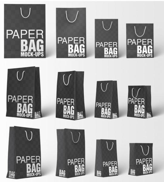 مجموعه موکاپ ساک خرید کاغذی از زوایای مختلف