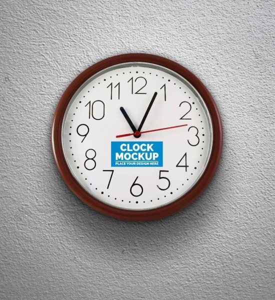 موکاپ لوگو و طرح روی ساعت دیواری زیبا