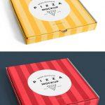 موکاپ و پیش نمایش جعبه پیتزا از نمای بالا