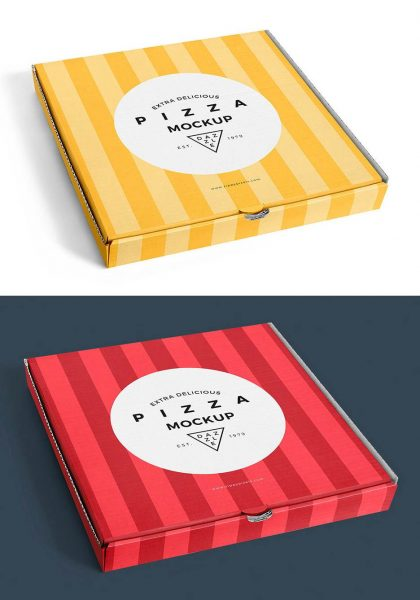 موکاپ و پیش نمایش جعبه پیتزا