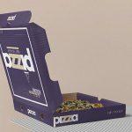 موکاپ و پیش نمایش جعبه پیتزا با در باز