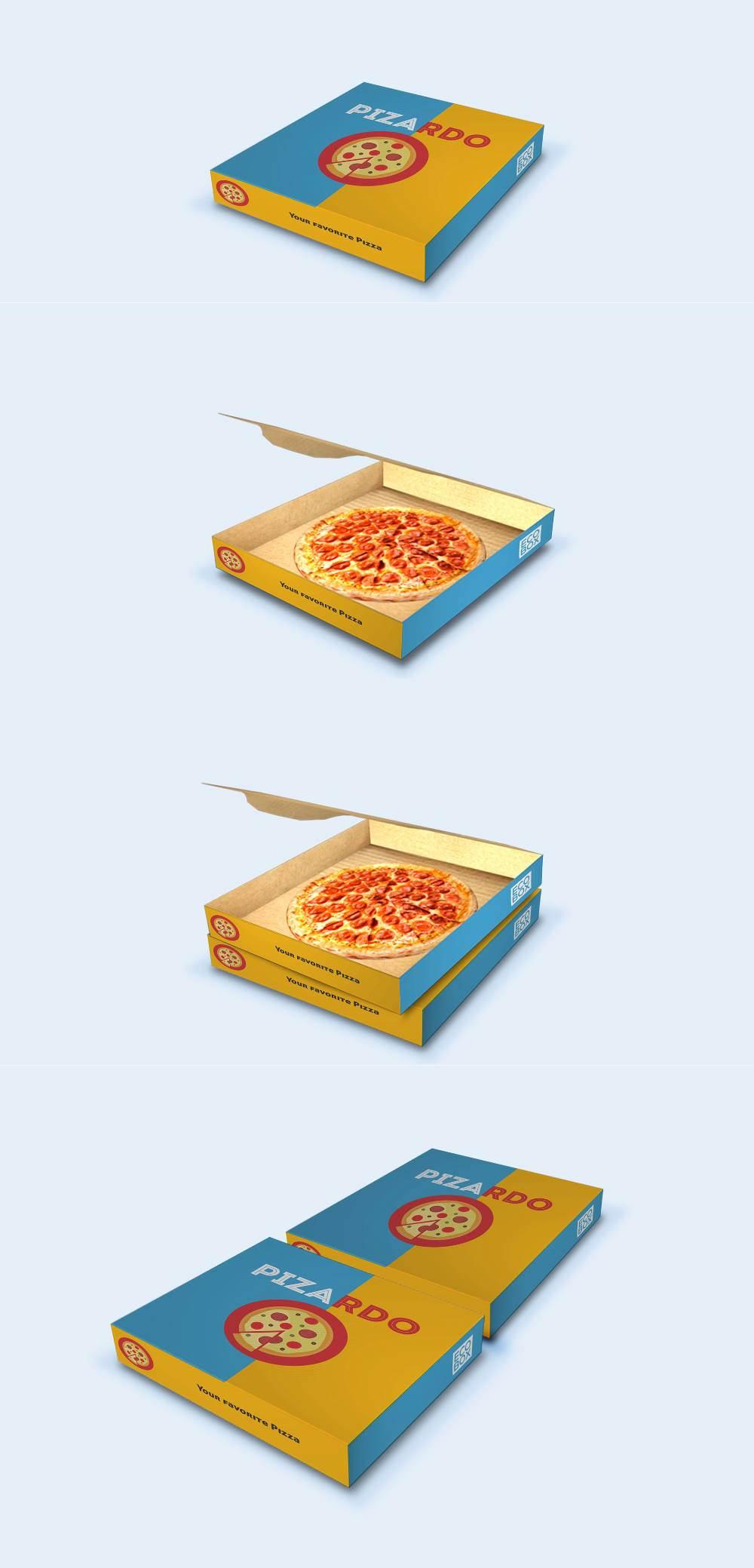 موکاپ جعبه ساده پیتزا با در باز و بسته