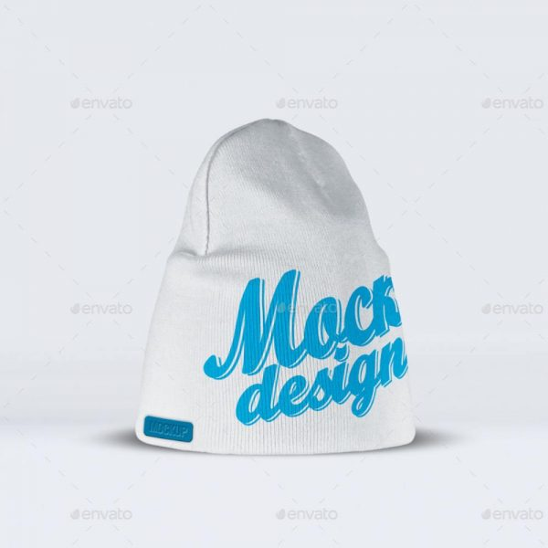 موکاپ طرح لوگو روی کلاه پشمی