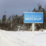 موکاپ بیلبورد و تابلوی تبلیغاتی در نمای زمستانی و برف (11 موکاپ)