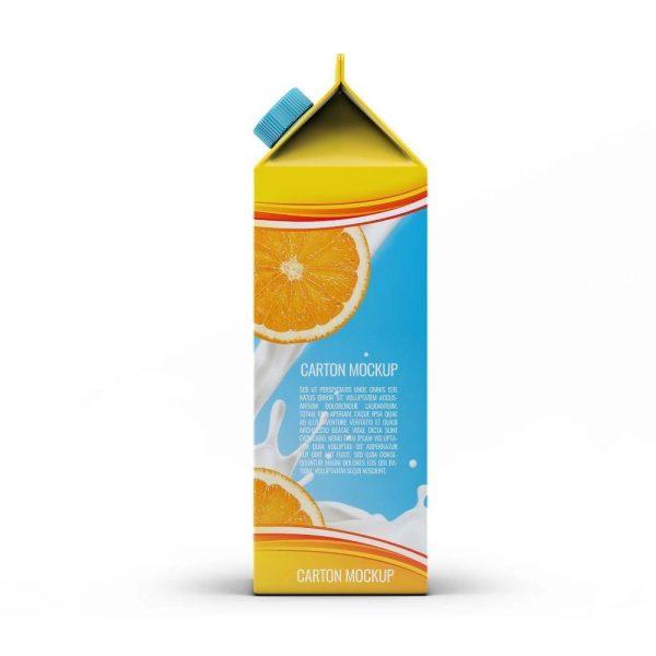 موکاپ پاکت تتراپک آبمیوه و شیر