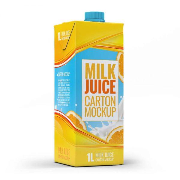 موکاپ پاکت شیر و آبمیوه بلند