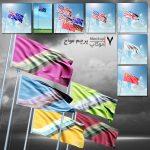 موکاپ پرچم مواج و برافراشته (7 موکاپ)