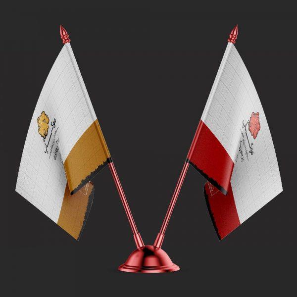 موکاپ پرچم رومیزی دوطرفه