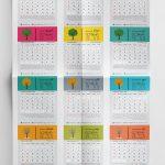 جدول لایه باز تقویم ۹۹ با سرتیترهای رنگی (طرح 8) فتوشاپ - ایندیزاین - کورل دراو