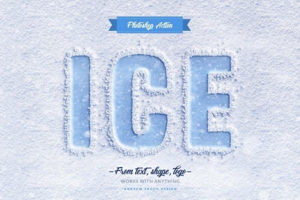 موکاپ لوگو و نوشته روی برف و یخ