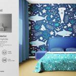 موکاپ اتاق خواب (تخت، لحاف و پتو، بالش، پارکت، دیوار، پرده)