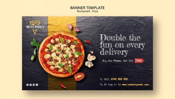 فایل لایه باز بنر یا کارت ویزیت رستوران و فست فود پیتزا