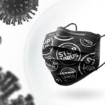 موکاپ ماسک با نمای زمینه ویروس کرونا