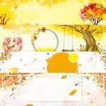 فایل لایهباز کارتونی با تم زرد و پاییزی (۴ فایل PSD)