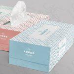 موکاپ جعبه دستمال کاغذی بزرگ و تیشو (سه جعبه در کنار هم)